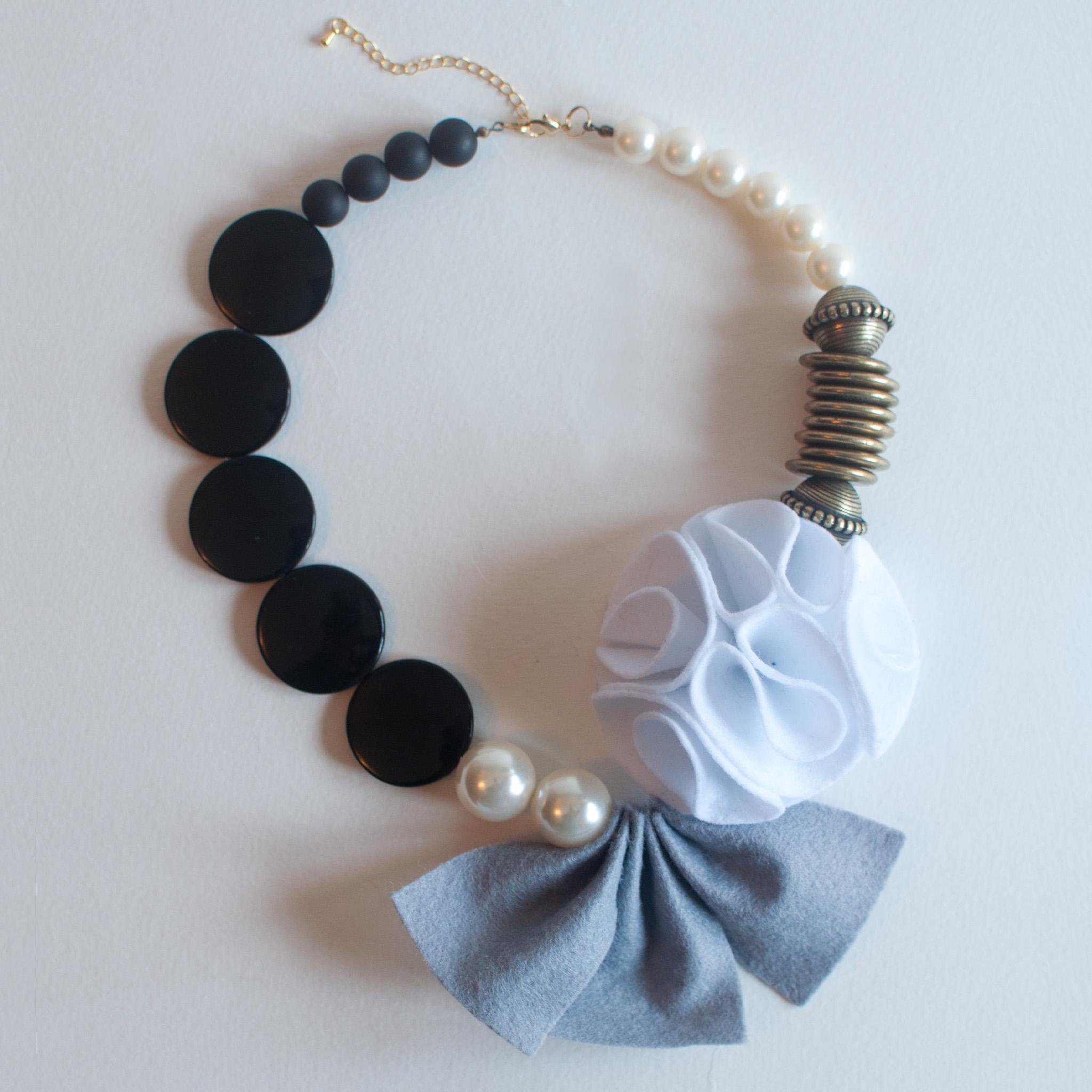 Grey Felt Fabric Flower Statement Necklace, Handmade Wool Felt ...