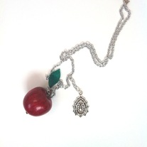 Red Apple Pendant Glass Leaf Charm Silver Gothic Spider Necklace
