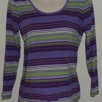 Purple/Green/White Stripe Top-Duo Maternity Size Large