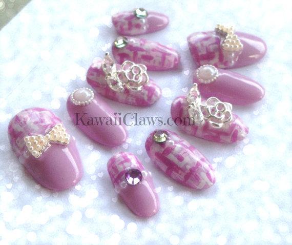 Kawaii Claws Kawaii Pink Tweed Falsefake 3d Nails Japanese Gel