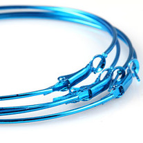 Plain Alloy Hoop Earrings 2.75 inch - Blue