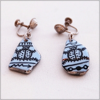 Painted Blue Stone Screw Back Earrings