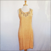Vintage Peach Beaded Dress