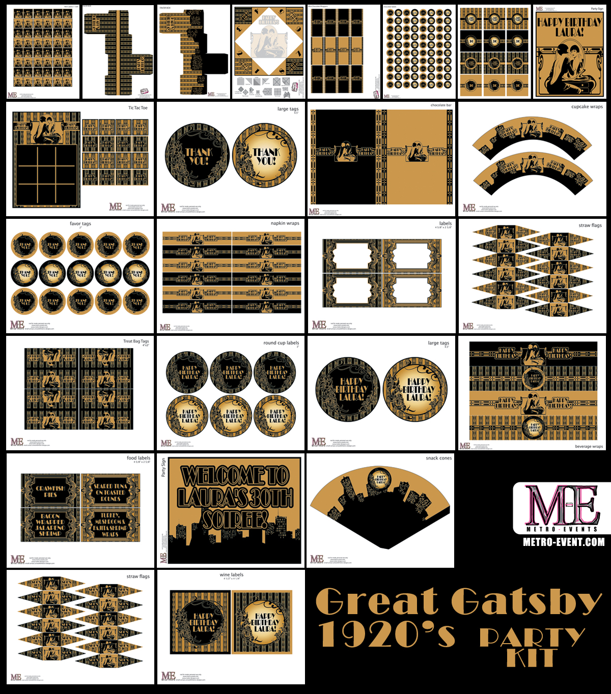 1920 39 s party gatsby invitations art deco birthday for 1920s decoration party