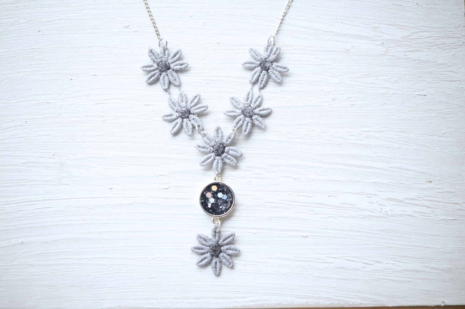 Silver glitter and lace flower statement necklace white bear silver glitter and lace flower statement necklace thumbnail 1 mightylinksfo