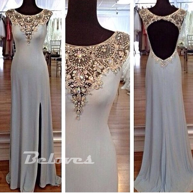 Grey Chiffon Beaded Formal Evening Gown With Keyhole Back · Beloves ...