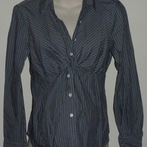 Gray White Stripe Shirt with Collar/Buttons-Mimi Maternity Size Large