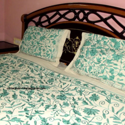 green sets cotton item duvet comforter bedding king bed cover embroidered leaf queen sheets set