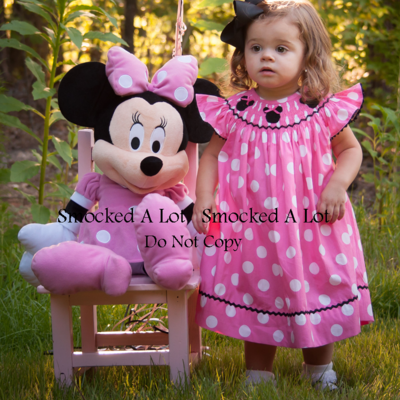 Smocked minnie mouse dress- pink polka dots with ribbon hair bows!