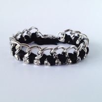 Black thread with crystals bracelet