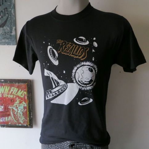 The rezillos t shirt screen print short sleeve black for Vintage screen print t shirts