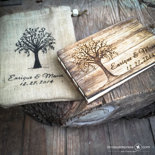 rustic personalized woodsy foliage tree wedding guest book thumbnail 1