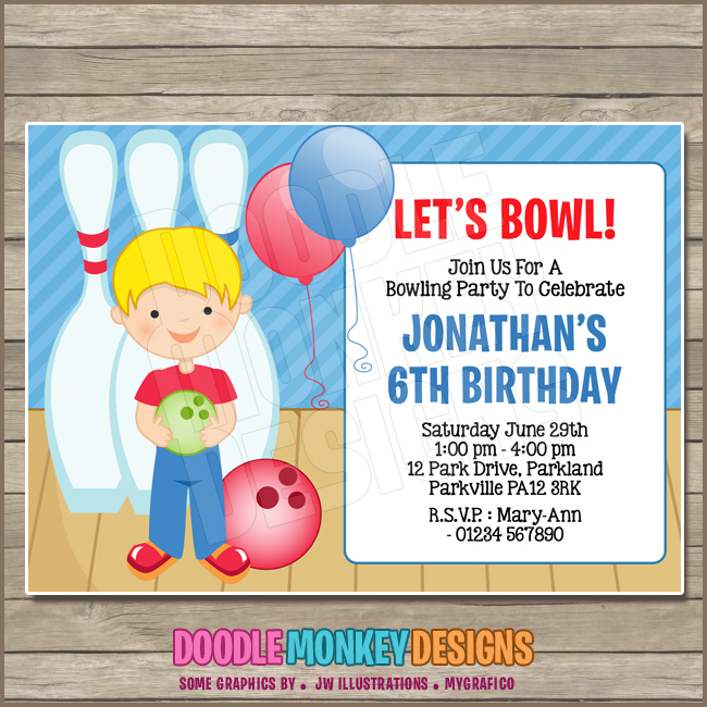 graphic relating to Printable Bowling Party Invitations called Bowling Boy V2 Occasion Invitation - Do it yourself PRINTABLE Electronic Invite versus DoodleMonkeyDesigns