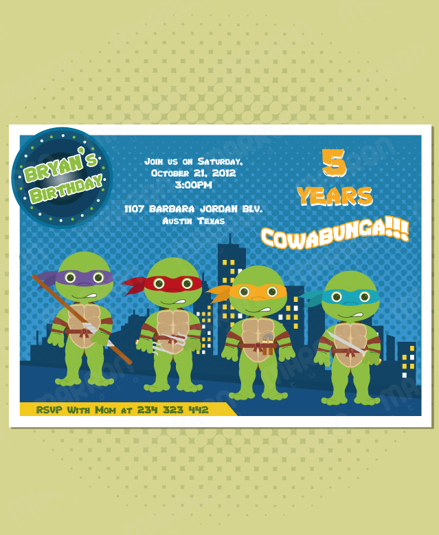 marron studio  teenage mutant ninja turtles inspired birthday, Birthday invitations