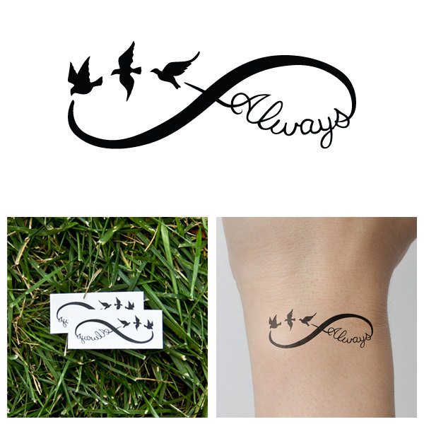 infinity always temporary tattoo set of 2 tattify online store powered by storenvy. Black Bedroom Furniture Sets. Home Design Ideas