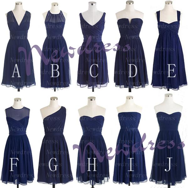 Mismatched bridesmaid dresses, short bridesmaid dresses, navy blue ...