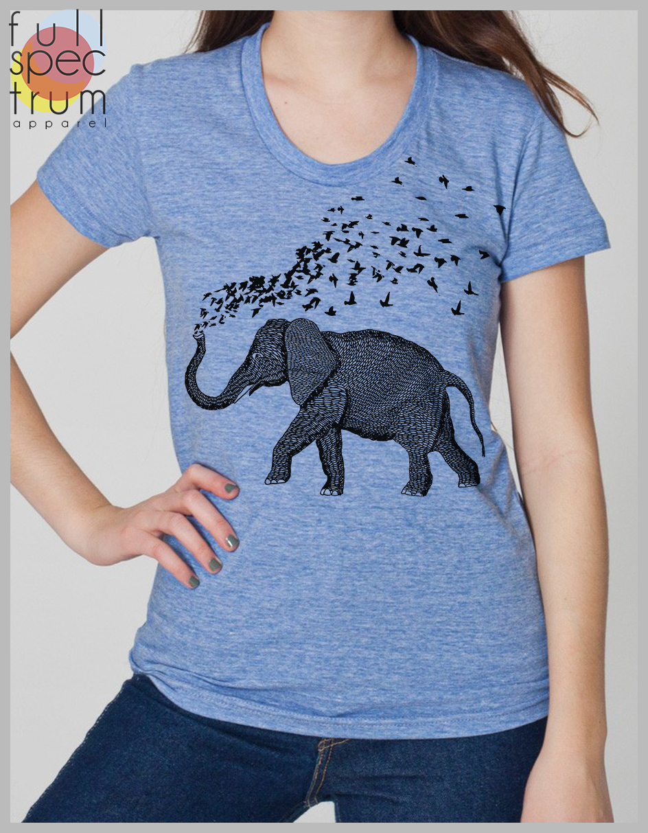 Elephant Parade Womens T Shirt Hand Drawn And Printed Elephant With