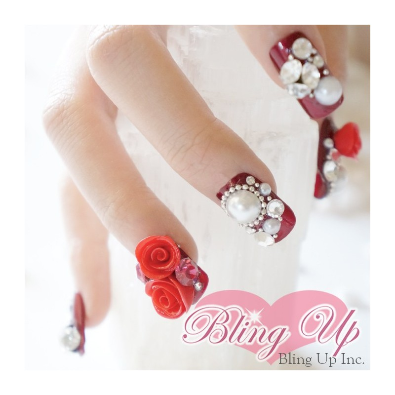 Bling Up Inc Ruby Red Rose 3d Bling Nail Art With Swarovski