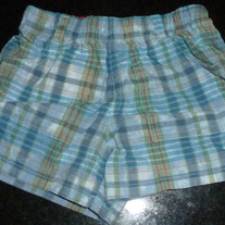 Light Blue Plaid Shorts-The Children's Place Size 0-3 Months