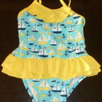 Teal/Yellow Sailboat Swim suit-Circo Size 18 Months