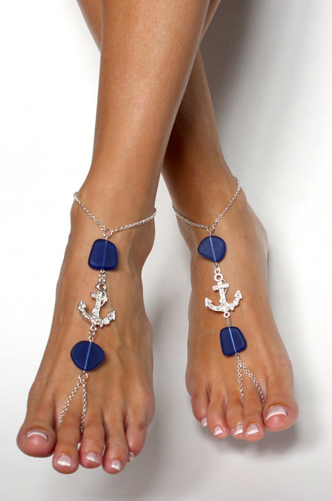 Anchor and Sea Glass Barefoot Sandals Foot Jewelry ...