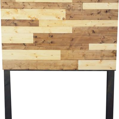 2 color stained plank wood headboard