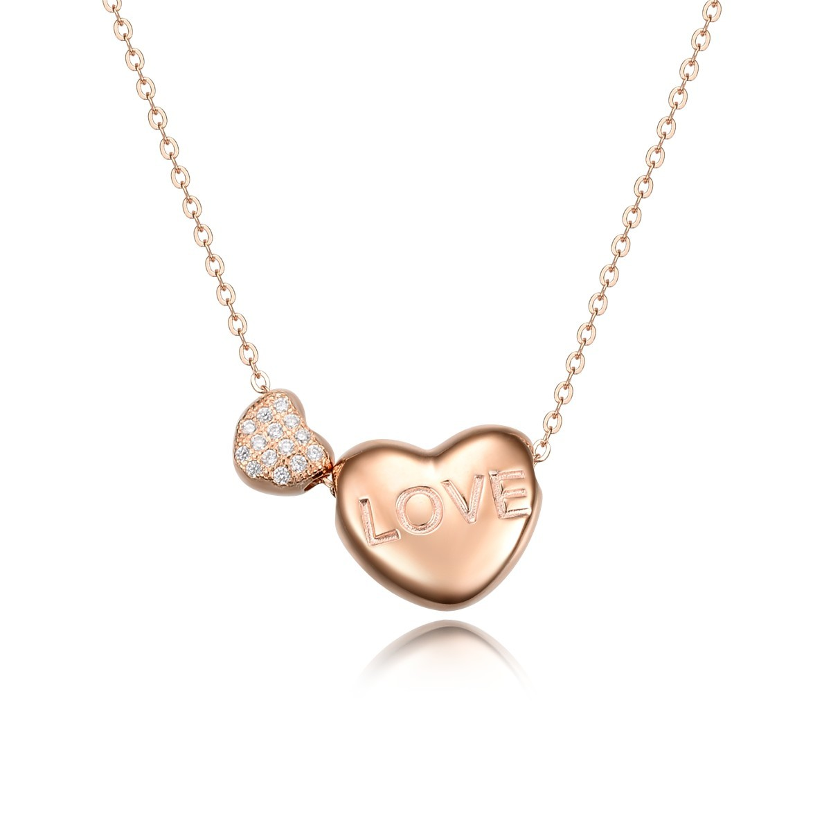 Sterling Silver Rose Gold Plated Engraved Love Word Diamante Pair Heart Pendant Necklace Jewelry