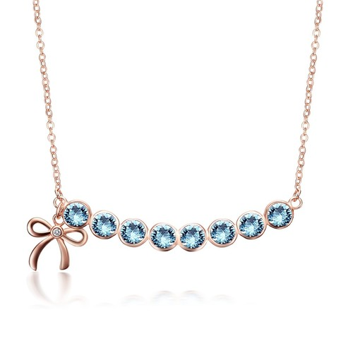 Sterling Silver Rose Gold Plated Bowknot With 8 Azure Blue
