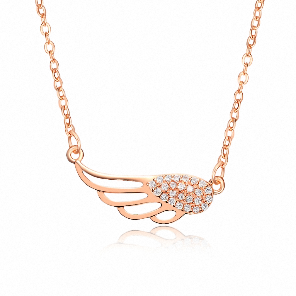 Sterling Silver Rose Gold Plated Diamante Cubic Zirconia Hollow