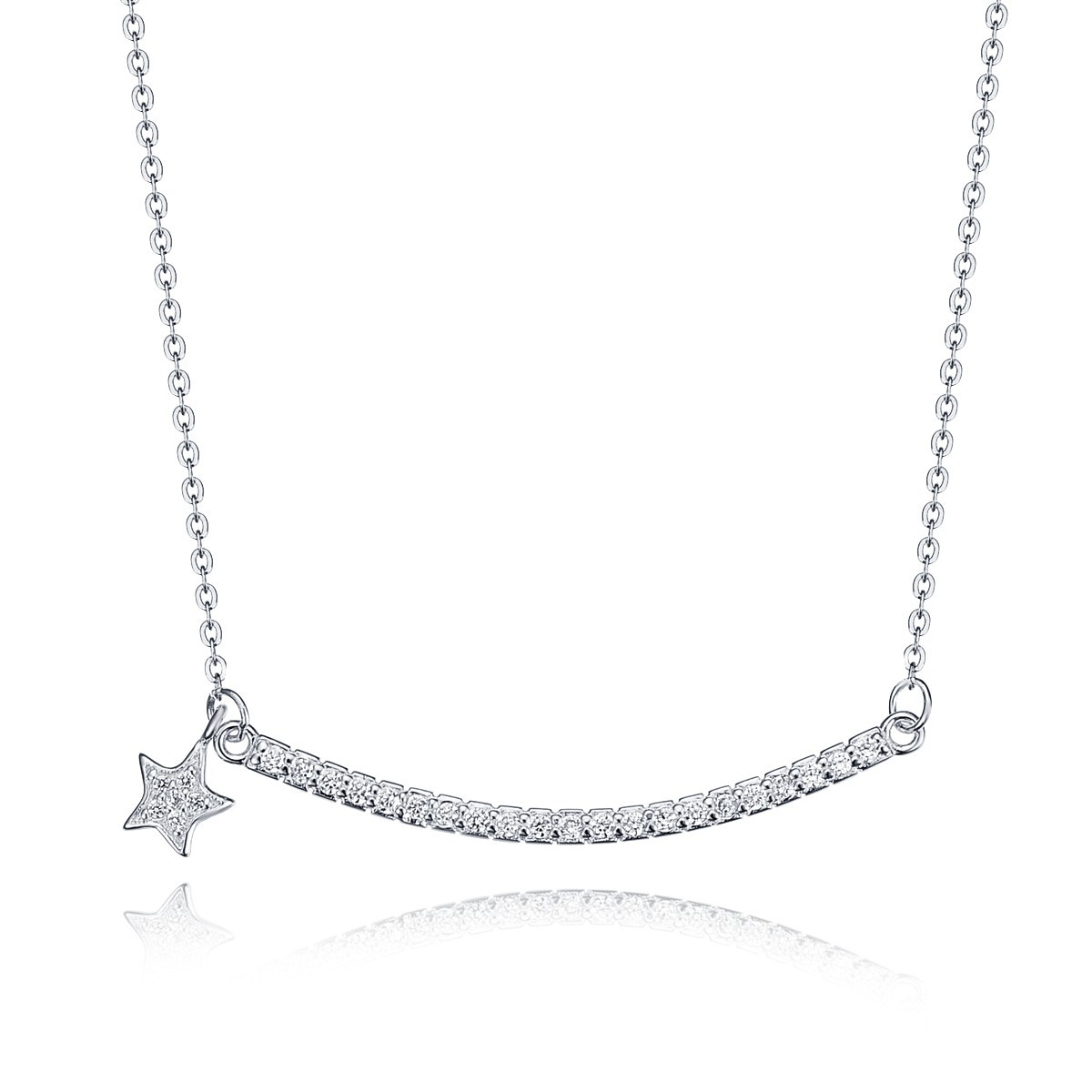 Women sterling silver group diamante curving bar with five pointed women sterling silver group diamante curving bar with five pointed star pendant necklace jewelry 18 mozeypictures Image collections