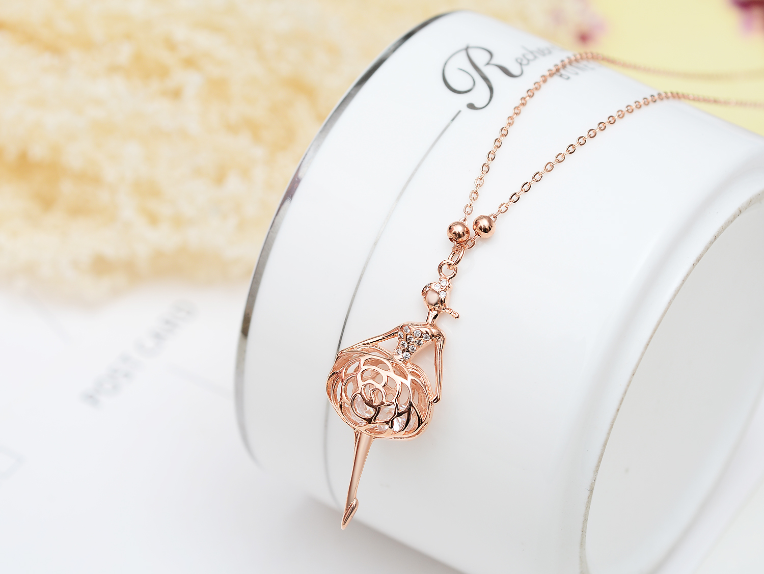 Sterling silver rose gold plated diamante party dancing girl pendant sterling silver rose gold plated diamante party dancing girl pendant necklace jewelry for women thumbnail aloadofball Images