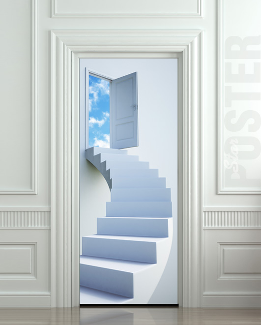 Wall door sticker stairs flight sky heaven decole poster for Door mural decals