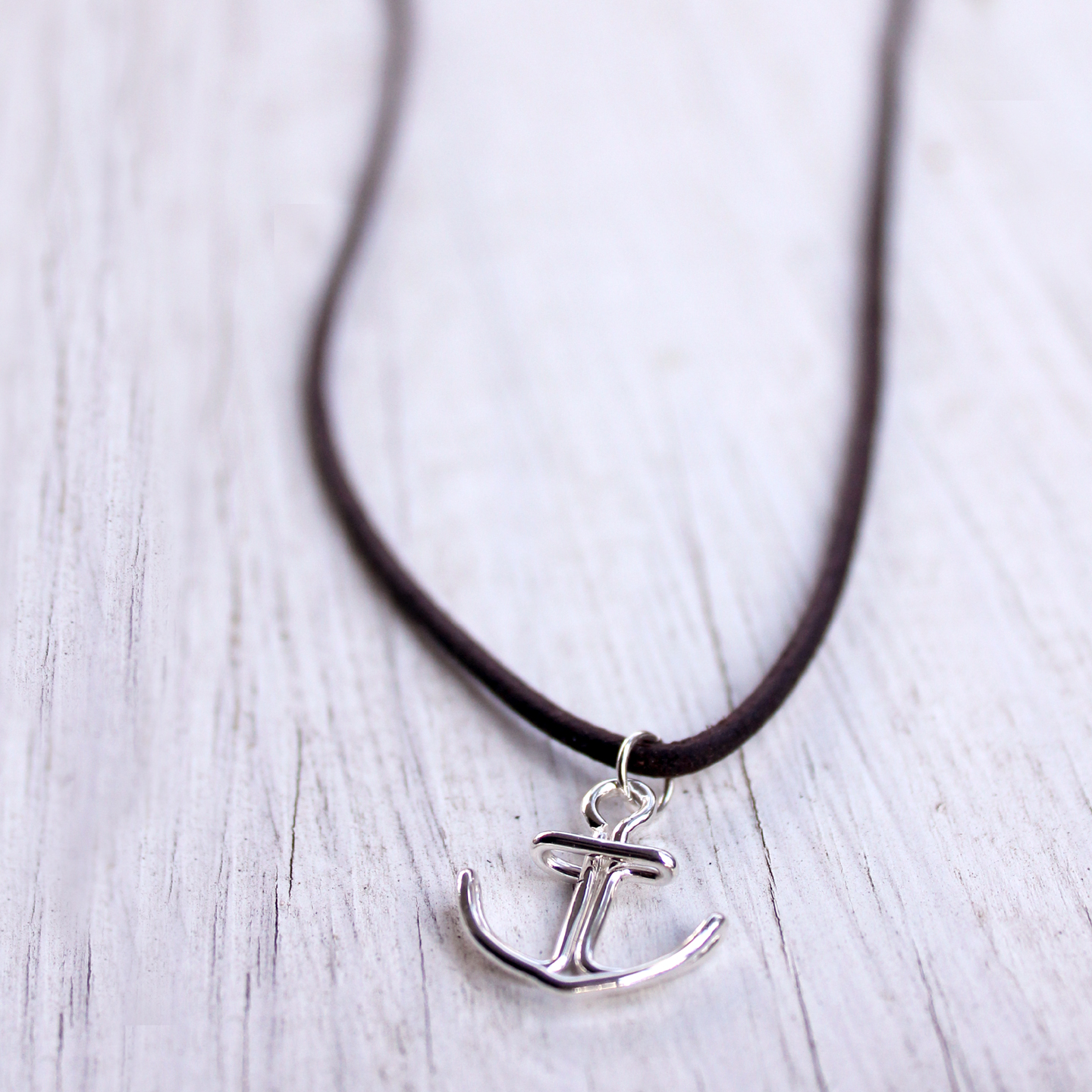 anchor necklace adjustable leather cord rooted