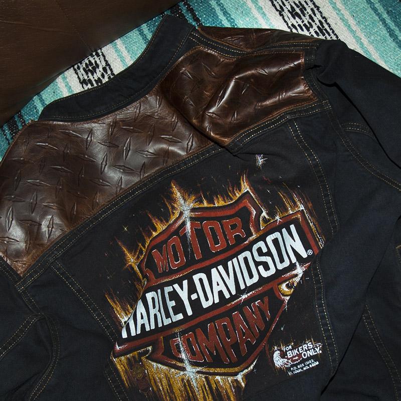 harley davidson diamond plate denim jacket burnmethod. Black Bedroom Furniture Sets. Home Design Ideas