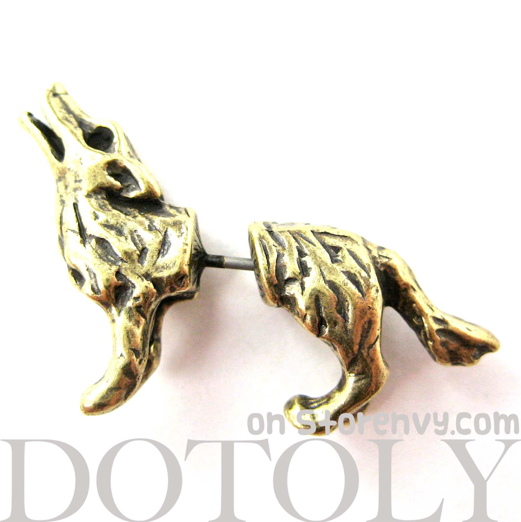 3d Fake Gauge Realistic Wolf Dog Animal Stud Earrings In Bronze  Thumbnail  1