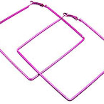 Oversize Square Hoop Earrings - Pink