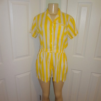 Vintage Yellow and White Stripe Jumper Size M or L!!