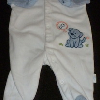 White/Blue Sleeper with Puppy-Baby B'Gosh Size 3 Months
