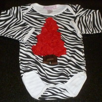 Zebra Stripe Onesie with Red Christmas Tree-Infinitely Sweet (Boutique) Size 12-18 Months