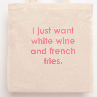 White wine and french fries tote