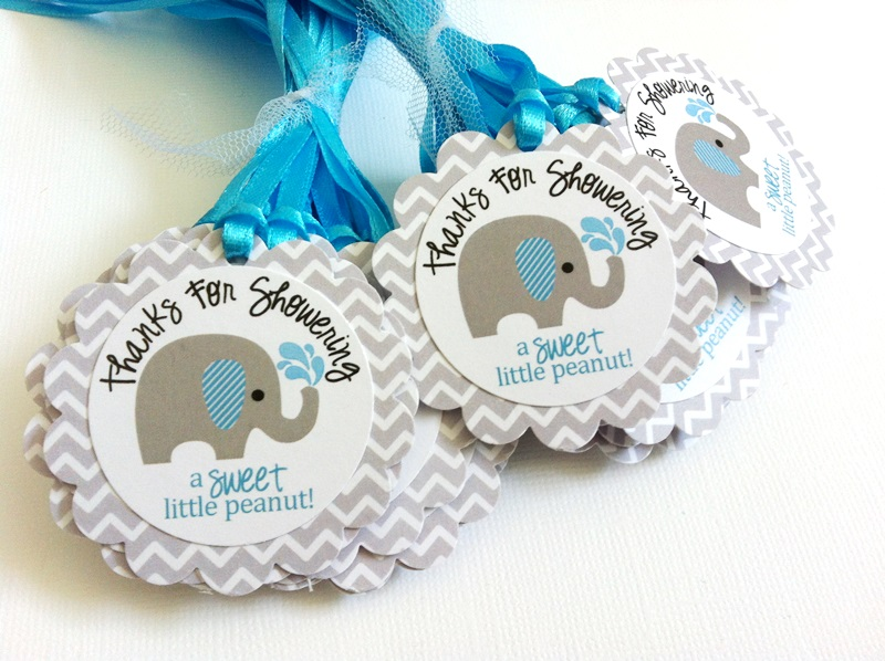 Thanks for showering a sweet little peanut baby boy elephant favor thanks for showering a sweet little peanut baby boy elephant favor tags in gray blue negle Gallery