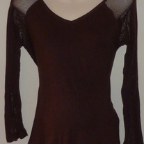 Brown Long Sleeve Shirt with Net Shoulder's/Sleeves-Duo Maternity Size Small