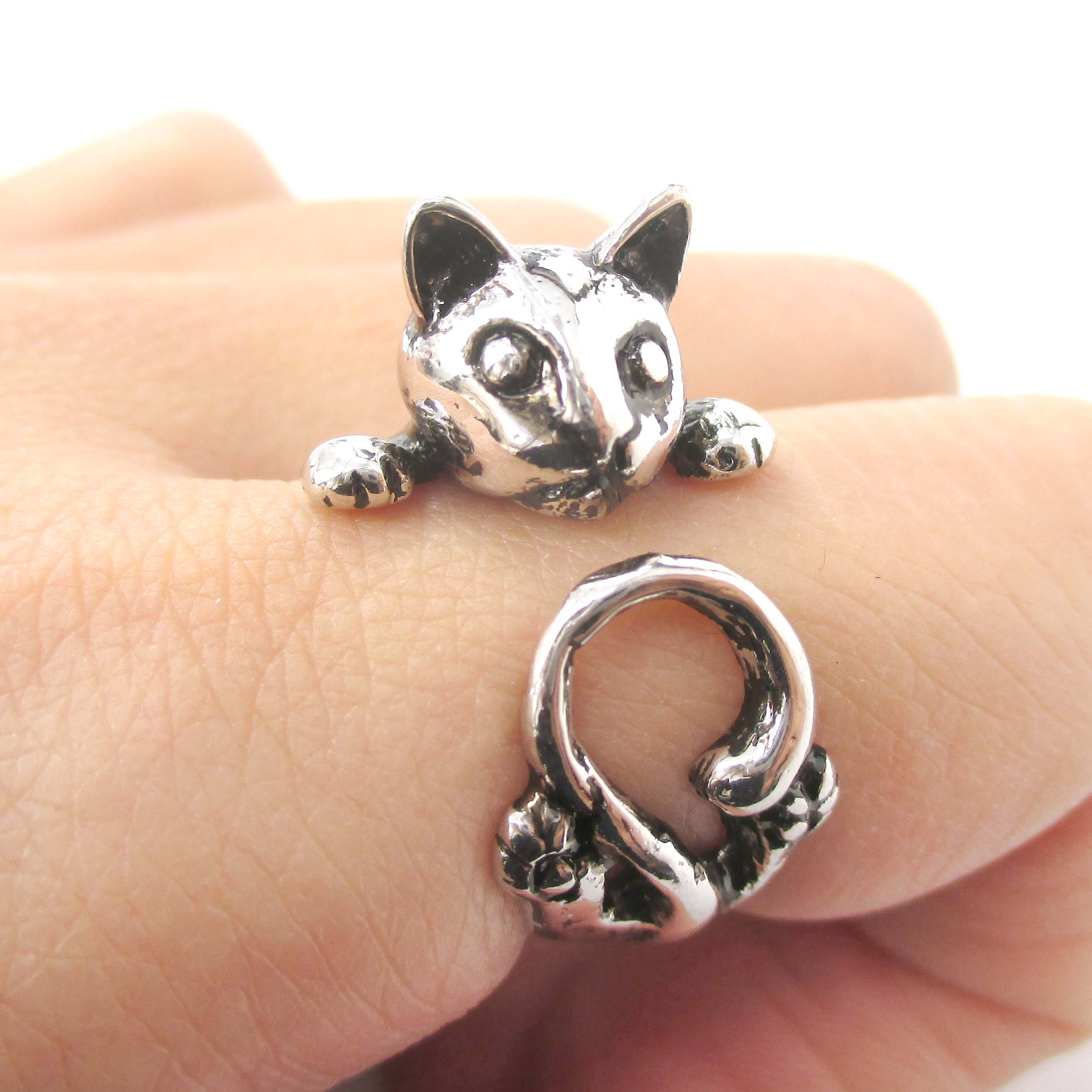 cat shaped animal ring for cat in shiny