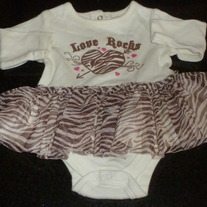 Love Rocks Onesie With Tutu-Glamjama Size 0-3 Months