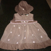 Brown Corduroy Dress with Pink Flowers/Matching Hat-No Brand Indicated Size 6-9 Months