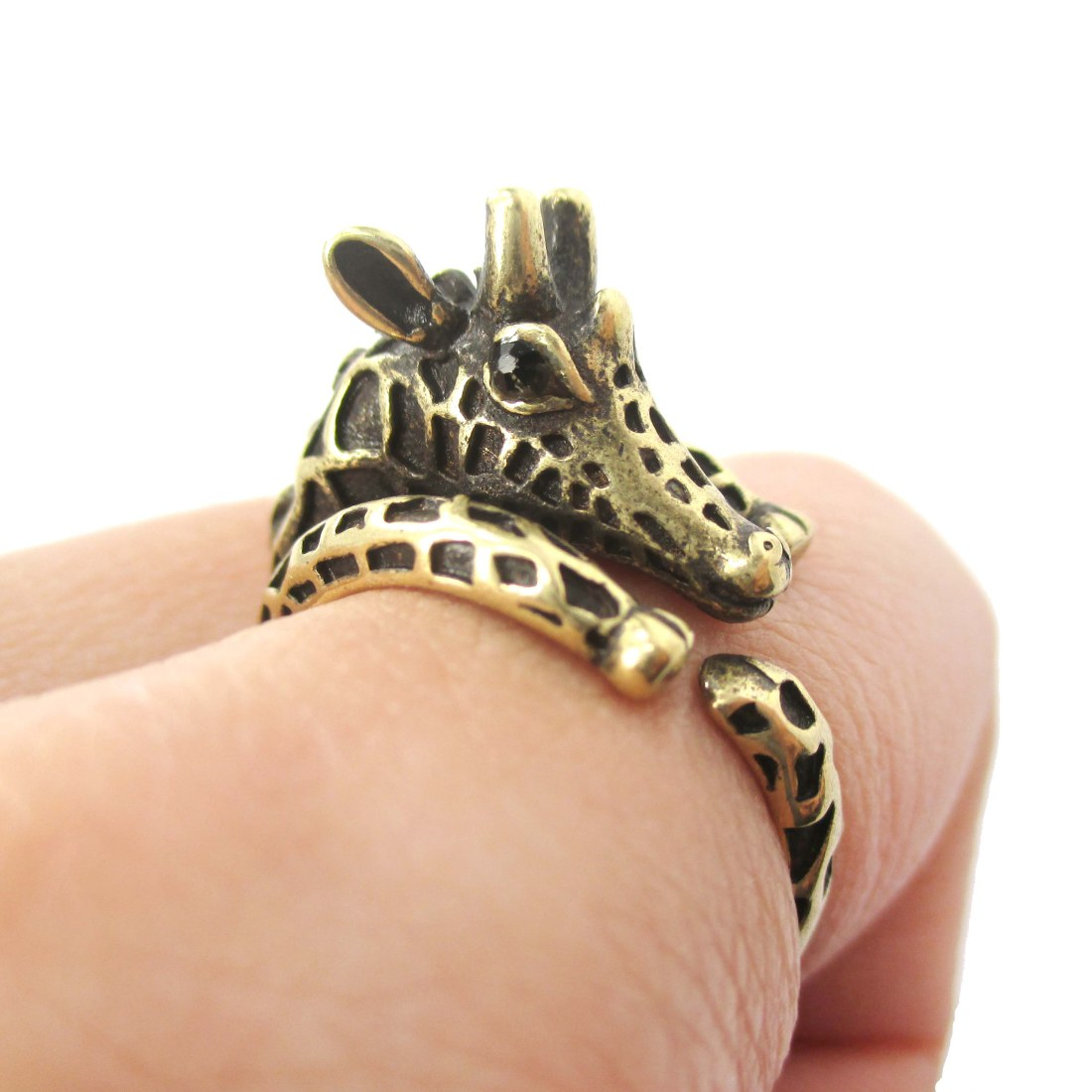 realistic giraffe shaped animal wrap ring in brass us