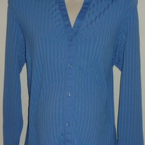 Blue Ribbed Long Sleeve Top with Collar/Buttons-Motherhood Maternity Size Large  SF0413