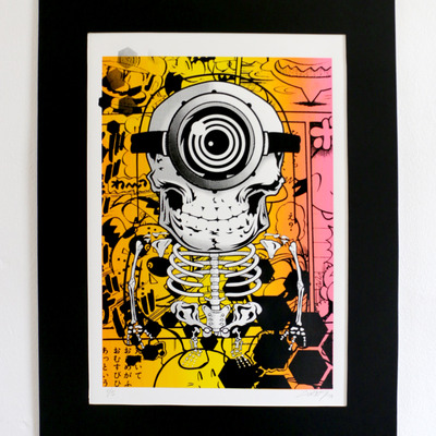 Skelnion minion art screen print