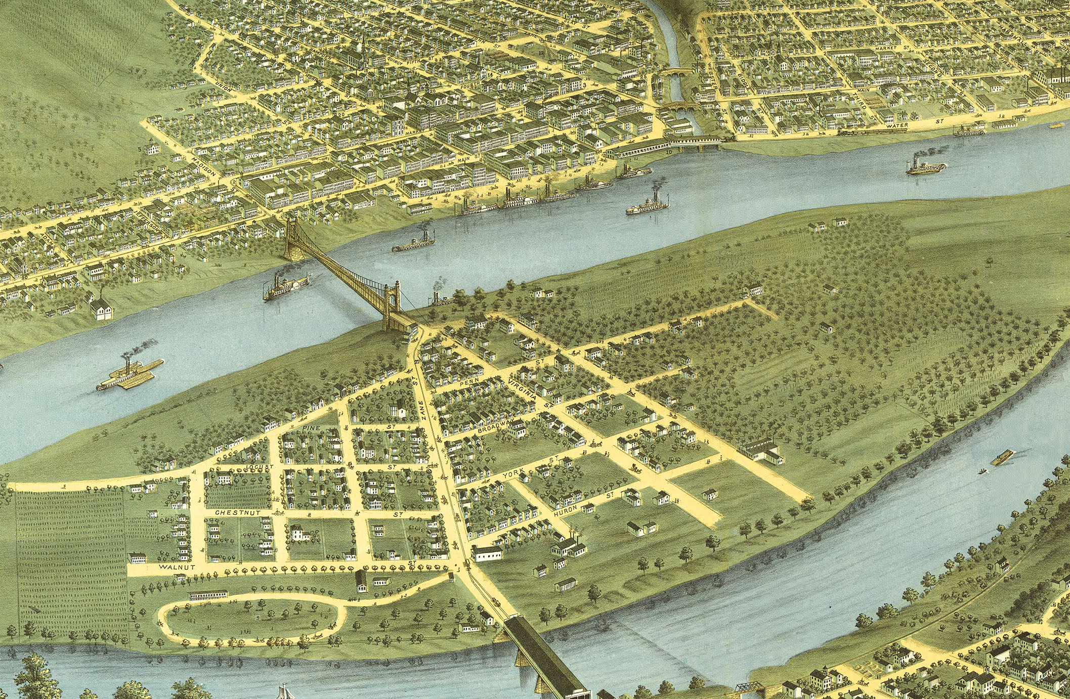 Wheeling (WV) United States  city photos : Wheeling, West Virginia in 1870 Bird's Eye View, Map, Aerial ...