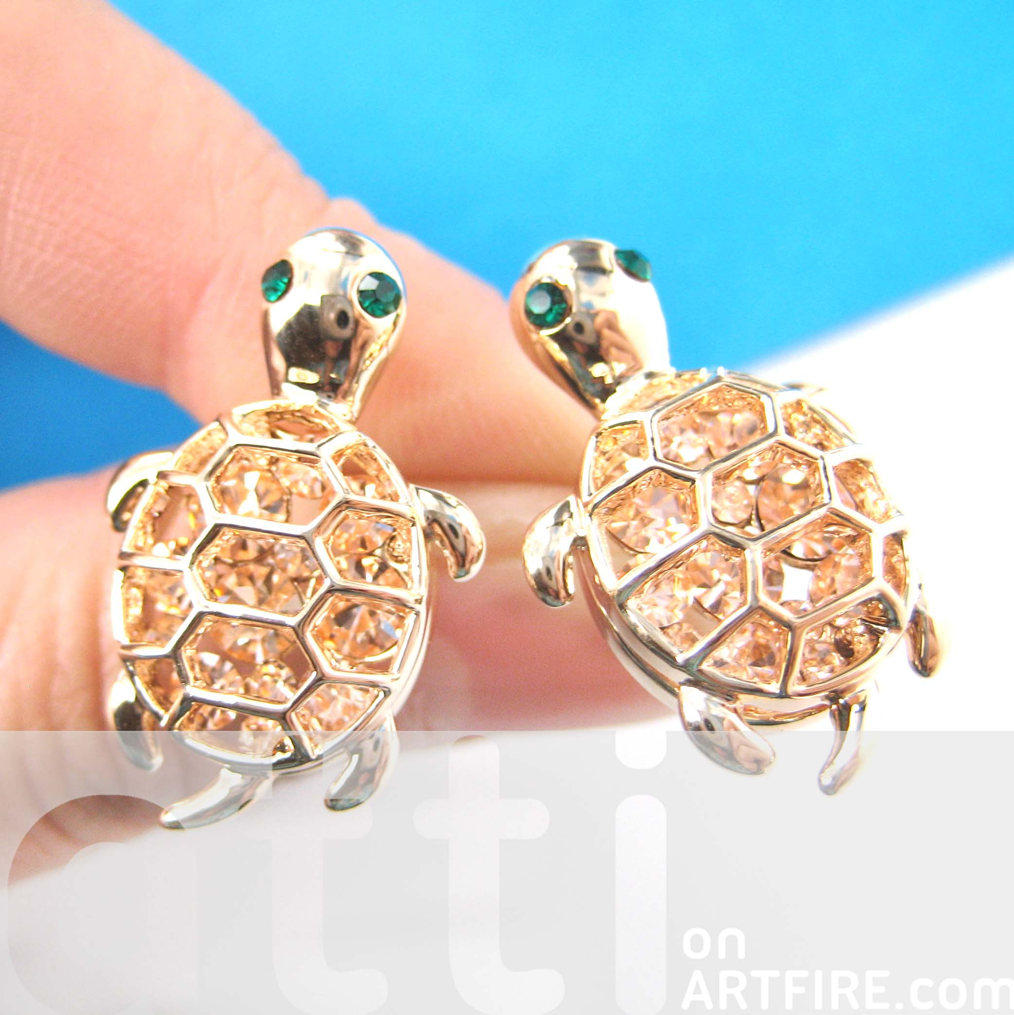 sea cute plus products animal turtle original in dotoly stud gold earrings tortoise rose